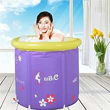 Home Aufblasbare Schwimmbäder Lila Falten Bad Bad Fässer Erwachsene Kinder Badewanne Inflated Dicker Isolierung Bad Fässer (mit aufblasbaren Pumpe) WXP-Schwimmbecken ( größe : 70*80cm )