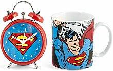 Home DC Comics, Superman Becher+Wecker Uhr rot/blau