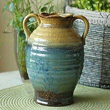 Home Dekoration/Keramikvase Vintage binaural-blau