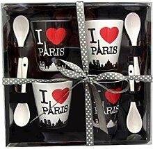 Home Dekoration Tasse I Love Paris Mehrfarbig