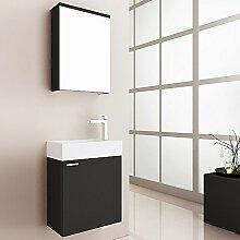 Home Deluxe | Badmöbel-Set | Langeoog | Schwarz | inkl. Waschbecken und komplettem Zubehör