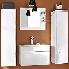 Home Deluxe | Badmöbel-Set | Sylt | weiß | inkl. Waschbecken und komplettem Zubehör