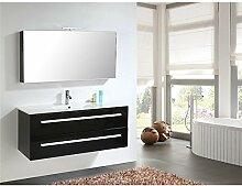 Home Deluxe | Badmöbel-Set | Wilhelmshaven | Schwarz Hochglanz | inkl. Waschbecken und komplettem Zubehör