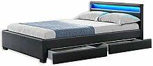 Home Deluxe - LED Bett mit Schubladen - Nube