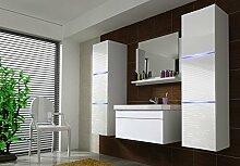 Home Direct AMANDA 2, Moderne Badmöbel, Badeschränke, mit Waschbecken (Weiß MAT base / Weiß HG front, LED weiß)