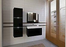 Home Direct LORENT, Moderne Badschränke, Badmöbel, mit Waschbecken (Schwarz MAT base / Schwarz HG front, LED weiß)