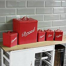 Home Discount® 5Stück Küche Vorratsdose Set Kekse Tee Kaffee Zucker Brotkasten, rot Kostenlose Lieferung