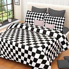 Home Elite Checks Design 100% Baumwolle doppelt Bettunterlagen mit 2Kissenbezügen, Schwarz & Weiß