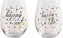 Home Essentials Happy Wife/Happy Life Glas-Set,