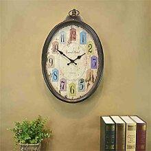 HOME-europäischen Retro-Nostalgie mute Wanduhr, tun das alte Wohnzimmer oval Uhr, antike Taschenuhr amerikanischen Land
