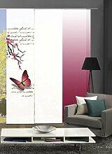 Home Fashion 88616 | 3er-Set Schiebegardinen BUTTERLFY | blickdichter Dekostoff | 3x jeweils 245x60 cm | Farbe: (fuchsia)