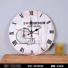 Home mute hängender Wecker Schlafzimmer rund Quarzuhr Wand bell Home Decoration Soft Watch, C