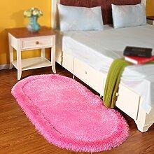Home oval teppich / kinderzimmer volle boden teppich / schlafzimmer bett front bett decke / einfarbig kinder krabbeldecke teppich ( Farbe : Pink , größe : 80*160cm )