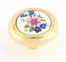Home Schrank Tür Floral Muster Keramik Knauf weiß gold Ton