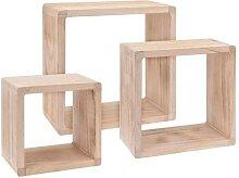 Home&Styling Regalwürfel 3 Stk. Paulownia Holz