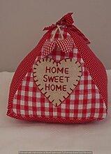 Home Sweet Home Triangle Türstopper–Polka Punkte und Rot Kariert Stoff Türstopper