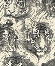 Home sweet home Vinyltapete 45036-30 Tapete Afrika Tiger grau weiß