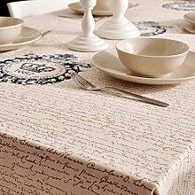 Home tischdecke blaue welle tischtuch stoff baumwolle leinen längliche tischdecke tee tischdecke tischtuch?-B 100x140cm(39x55inch)