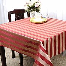 Home tischdecke einfache und moderne tischdecke vintage tischdecke stoff baumwolle leinen teetisch wärme gestreift romantische tischtuch restaurant tischdecken.mehrere farben.rot rot-Rot 120x160cm(47x63inch)