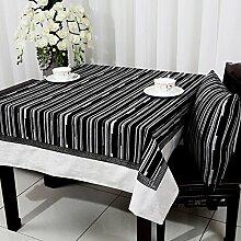 Home tischdecke einfache und moderne tischdecke vintage tischdecke stoff baumwolle leinen teetisch wärme gestreift romantische tischtuch restaurant tischdecken.mehrere farben.schwarz- 140x240cm(55x94inch)