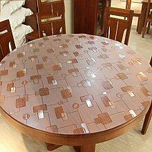 Home Tischdecke Pattern Round Tischdecke, PVC Wasserdichte runde Tischdecke Anti-Hitze Weiche Glas Runde Tisch Matten ( Farbe : Round/2.0mm , größe : Round/90cm )