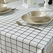 Home tischdecke retro home tischtuch.lattice ländliche tischdecke teetisch längliche tischdecke.mehrere farben.white-Weiß 140x160cm(55x63inch)