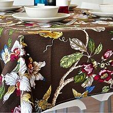 Home tischdecke vintage tischdecke deluxe tischtuch.pflanze blumen teetisch verdicken sie längliche tischdecke-verschiedene stile.-braun 100x140cm(39x55inch)