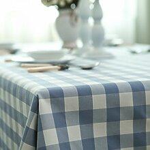 Home tischdecke,vintage tischdecke,farbechtheit.lattice]/edge/spitze/teetisch/sauber/längliche tischdecke-blue.-Blau 140x220cm(55x87inch)