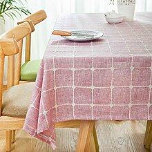 Home tischdecke,vintage tischdecke,stoff baumwolle leinen.lÄndlichen] moderne landschaft lattice] edge teetisch sauber längliche tischdecke.mehrere farben.pink-Rosa 110x170cm(43x67inch)