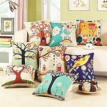 HOME UK-Amerikanische Dorf Blumen und Vögel Sofa-Kissen-Auto Kissenbezug Haushalt Rückenlehne 18 * 18 Zoll (ohne Kissenkern)