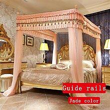 HOME UK- European Style Himmelbett Schienen Moskitonetz Dreitürige Single Double Verschlüsselung Verdickung Prinzessin Style Edelstahl Halterung ( Farbe : Jade Farbe , größe : 1.5m (5 Feet) Bed )