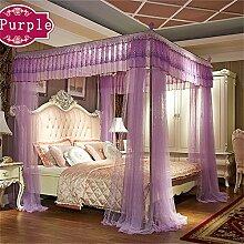 HOME UK- European Style Himmelbett Schienen Moskitonetz Dreitürige Single Double Verschlüsselung Verdickung Prinzessin Style Edelstahl Halterung ( Farbe : Lila , größe : 1.2m (4 Feet) Bed )