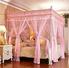 HOME UK- European Style Square Top Double Layer Moskitonetz Dreitürige Verschlüsselung Verdickung Doppelbett Prinzessin Style Edelstahl Halterung ( Farbe : Pink , größe : 1.8m (6 Feet) Bed )