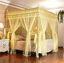 HOME UK- European Style Square Top Double Layer Moskitonetz Dreitürige Verschlüsselung Verdickung Doppelbett Prinzessin Style Edelstahl Halterung ( Farbe : Beige , größe : 2 0m (6 6 Fuß) Bett )