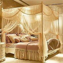 HOME UK- European Style Square Top Moskitonetz Dreitürige Verschlüsselung Verdickung Doppelbett Prinzessin Style Edelstahl Halterung Jade Farbe ( Farbe : 1.8m (6 Feet) Bed , größe : Diameter 25mm )