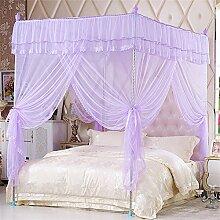 HOME UK- European Style Square Top Mosquito Net Dreitürige Verschlüsselung Verdickung Single Doppelbett Edelstahl Halterung Lila ( Farbe : 22mm , größe : 1.8*2.2m bed )