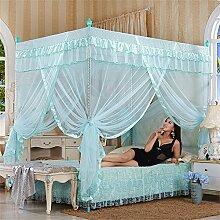 HOME UK- European Style Square Top Mosquito Net Dreitürige Verschlüsselung Verdickung Single Doppelbett Edelstahl Halterung grün ( Farbe : 22mm , größe : 1.2m (4 feet) bed )