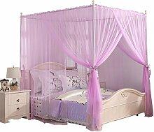 HOME UK- European Style Square Top Mosquito Net Dreitürige Verschlüsselung Verdickung Home Doppelbett Prinzessin Style Lila ( größe : 1.8m (6 Feet) Bed )