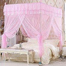 HOME UK- European Style Square Top Mosquito Net Dreitürige Verschlüsselung Verdickung Single Doppelbett Edelstahl Halterung Pink ( Farbe : 25mm , größe : 1.8m (6 feet) bed )