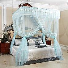 HOME UK- European Style Square Top Mosquito Net Dreitürige Verschlüsselung Verdickung Single Double Bed Edelstahl Halterung ( Farbe : Blau , größe : 1.8m (6 feet) bed )