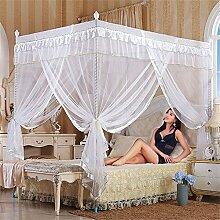 HOME UK- European Style Square Top Mosquito Net Dreitürige Verschlüsselung Verdickung Single Doppelbett Edelstahl Halterung weiß ( Farbe : 32mm , größe : 1.8m (6 feet) bed )