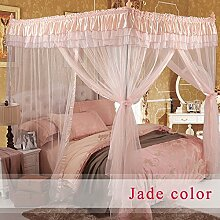 HOME UK- European Style Square Top Mosquito Net Dreitürige Verschlüsselung Verdickung Single Doppelbett Edelstahl Halterung Jade Farbe ( Farbe : 25mm , größe : 1.8*2.2m bed )