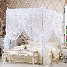 HOME UK- European Style Square Top Mosquito Net Dreitürige Verschlüsselung Verdickung Single Doppelbett Edelstahl Halterung Weiß ( Farbe : 25mm , größe : 1.8*2.2m bed )