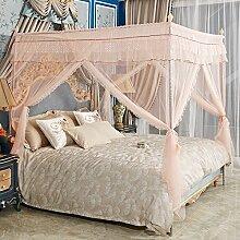 HOME UK- European Style Square Top Mosquito Net Dreitürige Verschlüsselung Verdickung Single Double Bed Edelstahl Halterung ( Farbe : Jade Farbe , größe : 1.8m (6 feet) bed )