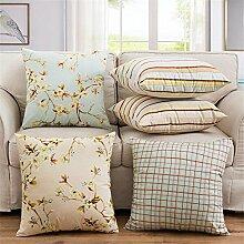 HOME UK-Pastoral Blumen Kissen Sofa Rückennacht Soft Case Kissenbezug 18 * 18 Zoll (ohne Kissenkern)