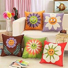 HOME UK-Pflanzen Blumen Serie Kissen Kissen Überzug Sofa Lordosenstütze Smiley Blume Rückenlehne 18 * 18 Zoll (ohne Kissenkern)