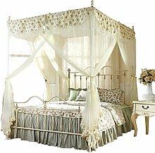 HOME UK- Square Top Mosquito Net Dreitürige Verschlüsselung Verdickung Home Doppelbett Princess Style Beige ( größe : 1.5m (5 Feet) Bed )