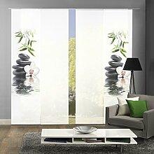 HOME WOHNIDEEN Komplett-Fenster-Schiebevorhang Ruskin, 4-er Set, 245x60 cm, grün