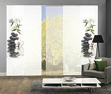 HOME Wohnideen Komplett-Fenster-Schiebevorhang Ruskin, 5-er Set, 245x60 cm, grün