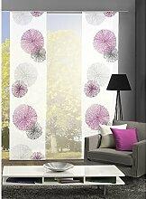 HOME Wohnideen Komplett-Fenster-Schiebevorhang Scoppio, 3-er Set, 245x60 cm flieder